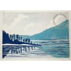 Reminds me of my grandfather's lake ORIGINAL lino print (Leaving Saltery Bay)