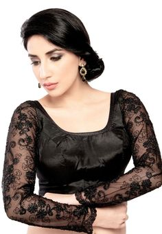 Gorgeous Long Sleeve Black Saree Blouse Walk pretty and stylish in this black brocade saree blouse. It has beaded tassels at the neck line and fancy long lace sleeves that bring a rich look to y Netted Blouse Designs, Saree Blouse Designs, Blouse Patterns, Black Saree Blouse, Brocade Saree, Net Blouses, Lace Sleeves, Fashion Models, Fashion Designers
