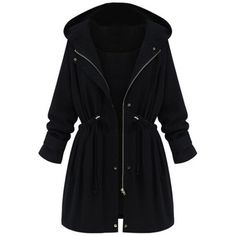 Choies Black High Waist Hooded Long Sleeve Coat (1 125 UAH) ❤ liked on Polyvore featuring outerwear, coats, jackets, tops, casacos, black, hooded coats, long sleeve coat, black coat and black hooded coat