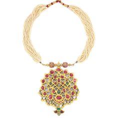 Indian Multistrand Seed Pearl, Gold and Foiled-Back Gem-Set Pendant-Necklace   14 strands, foiled-back rubies & emeralds, pendant ap. 50.7 dwt. Length adjustable.