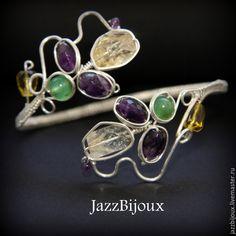 Купить Браслет с аметистом, цитрином и хризопразом - браслет, плетеный браслет, подарок девушке, нарядный браслет