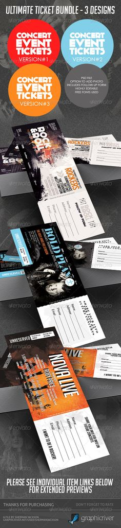 Concert & Event Tickets/Passes - BUNDLE (3in1) - PSD Template • Only available here ➝ http://graphicriver.net/item/concert-event-ticketspasses-bundle-3in1/3894707?ref=pxcr