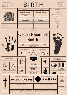Birth Announcement: A Birth Certificate Redesigned. Every possible detail you could ever want to know about someone's birth presented in a clean modern layout. Branding, Birth Certificate, Certificate Design, Certificate Images, Little Doll, Baby Kind, Future Baby, Baby Boys, Little Ones