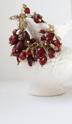 Holiday Bracelet! And vintage to boot! Vintage Red and Gilded Cluster Bracelet by jenniflairjewelry, $95.00