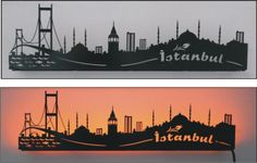 laser cutting,city silhouette, İstanbul, led light