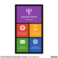 Tejas coloridas del psicólogo del asistente social tarjetas de visita