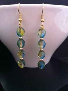 SALES Faceted Blue / Yellow Czech Glass Dangle by RainbowKnit, $15.00