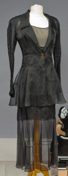 CHANEL par Karl LAGERFELD Haute couture, circa 1990 Robe longue en organza