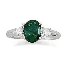 SIZE 9 STERLING SILVER EMERALD RING w ACCENTS, 2.25ctw ROUGH CUT EMERALD, http://samanthassilver.com/  VENDOR CODE:  AFF9965