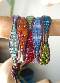 GROOVE 5 Wrap Beaded Gemstone Leather by BraceletsofBlueRidge