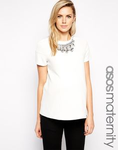 ASOS+Maternity+Textured+Swing+Top+with+Gem+Necklace