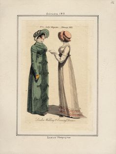English Walking and Evening Dresses, circa 1812