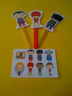 Preschool Printables: Free Super Hero Sticks...can use as pointers to track print during reading small groups
