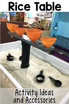 Incorporate these toys, tools, and accessories into a rice bin sensory table to promote lots of learning through play. via @PlayToLearnPS