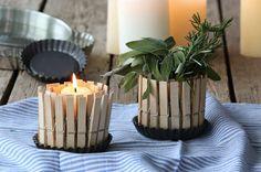 Wäscheklammern für Windlicht und Vase