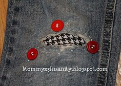 Alabama Roll Tide Jeans patch... minus the buttons.   The buttons are ugly.