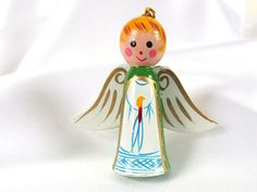 Vintage Christmas Ornament, Hand Painted Wood Angel Holiday Ornament Decoration, NIP