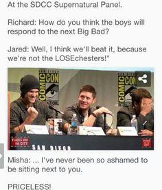 Misha's ashamed of Jared! LOL