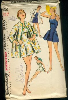 Simplicity 1607 ©1956 Bathing Suit and Coat