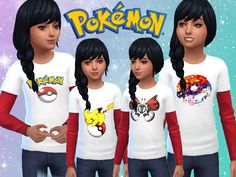 Kids' Pokemon Tops - Unisex Found in TSR Category 'sims 4 Female Child Everyday'