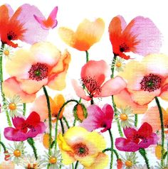 4 Single Vintage Table Paper Napkins, Lunch, for Decoupage, Party Poppies &
