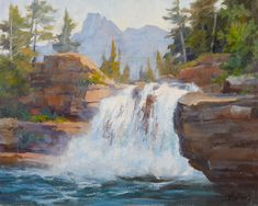 From snowy evergreens to rigorous waterfalls, accomplished artist Johannes Vloothuis shares simple painting techniques for creating an acrylic landscape. Watercolor Landscape, Landscape Art, Landscape Paintings, Watercolor Paintings, Landscape Photos, Watercolour, The Artist Magazine, Waterfall Paintings, Acrylic Painting Techniques