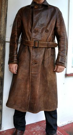 Rare WWI Antique Vintage Full-Grain Leather Trench Coat Aust Made Sz S-M Unisex