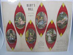 Antique Dated 1900 Art Fabric Mills Cloth Rag Doll BABY'S BALL Rare Uncut NR yqz