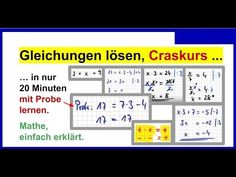 Gleichungen lösen / umstellen. Crashkurs (20 Minuten) - YouTube Youtube, Solving Equations, Research Institute, Upper Elementary, Learn Math, Water, Ideas, Youtubers, Youtube Movies