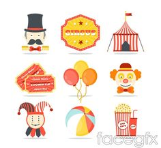 Color the circus icons vector