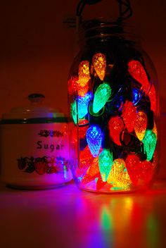 Colored Light Strands in Jars Brighten up Small Spaces