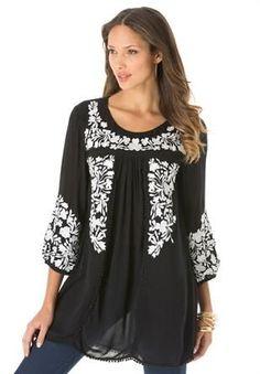 Plus Size Boho Floral Tunic