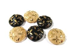 Black & Tan Glass Shankless Buttons West Germany VINTAGE Black Tan Gold Luster Buttons Six (6) Vintage Buttons Jewelry Sewing Supplies (J80) by punksrus on Etsy
