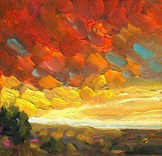 """""""Santa Fe Sunset"""" 6x6 dee sanchez"""