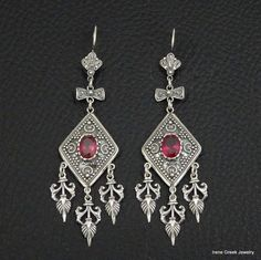 BIG PINK RUBY CZ ETRUSCAN STYLE 925 STERLING SILVER GREEK HANDMADE ART EARRINGS #IreneGreekJewelry #Chandelier
