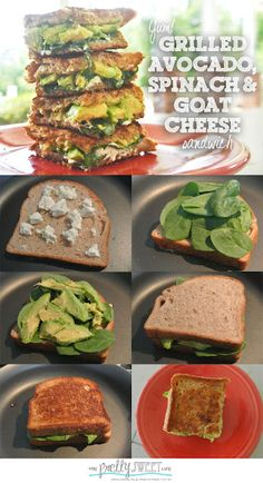 Grilled Avocado, Spinach, and Goat Cheese Sandwich (for the occasional dairy indulgence) Veggie Recipes, Great Recipes, Cooking Recipes, Favorite Recipes, Lunch Recipes, Healthy Snacks, Healthy Eating, Healthy Recipes, Grilled Avocado