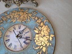 Купить Настенные часы Бирюза - голубой, часы настенные, винтажные часы, настенные часы