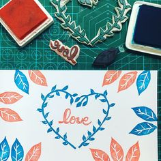 Super sweet and lovely print made with hand carved rubber stamps ❤️💙