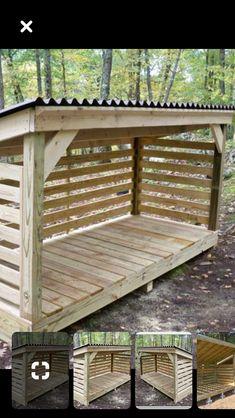 Outdoor Firewood Rack, Firewood Shed, Firewood Storage, Backyard Patio Designs, Backyard Projects, Outdoor Projects, Small Wood Shed, Outdoor Rooms, Outdoor Living