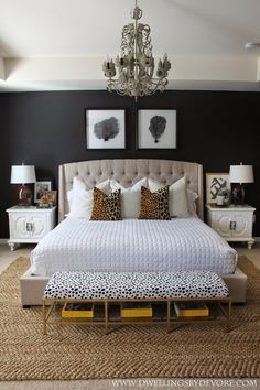 Gorgeous bedroom with pattern play, leopard & that bench!!