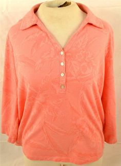 Caribbean Joe Size Large Long Sleeve Peach Pullover Blouse