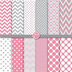 lunares y paquete de papel digital de chevron rosa por YenzArtHaut