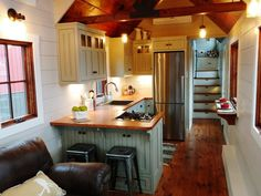 Kitchen with Upper Cabinets - Luxury Farmhouse by Timbercraft Tiny Homes