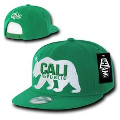 Kelly Green California Cali Republic Bear Snapback Snap Back Cap Caps Hat  Hats. Kelly Green c4cf613945e