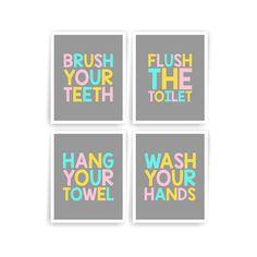 Pink Aqua Yellow Grey Printable DIY Kids Bathroom Art Brush