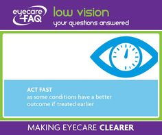 If you are worried about your vision, act fast. Many eye problems can be treated if they are spotted in the early stages, but later on, sight can be lost for ever.