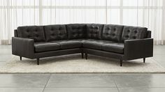 Petrie Leather Corner Sectional Sofa - Crate and Barrel Corner Sectional Sofa, Sectional Furniture, Living Room Sectional, New Furniture, Sofas, Couches, Leather Furniture, Crate And Barrel, Mid Century Sectional