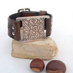 Pulsera de cuero con componente de bar antiguo plata étnicos, las mujeres de cuero pulsera brazalete, pulsera brazalete de cuero ajustable