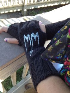 Marilyn Manson hand knitted fingerless gloves available at etsy/mitchellheart