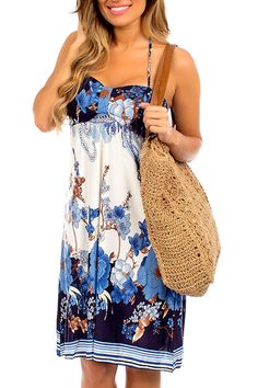 Christina Love Eileen Dress in Ivory and Navy - Beyond the Rack